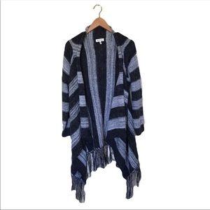 3/$20 Monteau Gray Striped Knit Open Cardigan